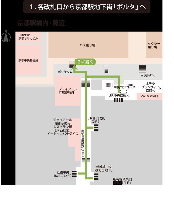 各改札口から京都駅地下街「ポルタ」へ